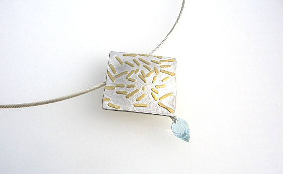 Necklaces and Pendants - Aquamarin, 925- Silber, 900- Gold