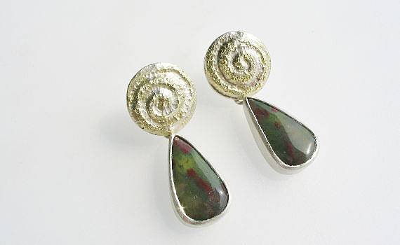 Ear jewellery - Moosachat, 925- Silber, 750- Gelbgold